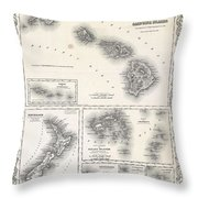 1855 Colton Map Of Hawaii And New Zealand Throw Pillow