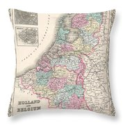 1855 Colton Map Of Holland And Belgium Throw Pillow