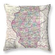 1855 Colton Map Of Illinois Throw Pillow
