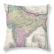 1855 Colton Map Of India Or Hindostan Throw Pillow