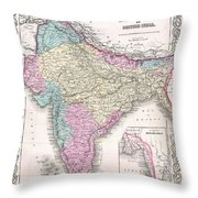 1855 Colton Map Of India Throw Pillow