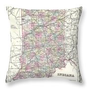 1855 Colton Map Of Indiana Throw Pillow