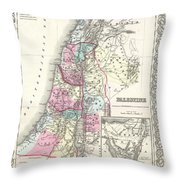 1855 Colton Map Of Israel Palestine Or The Holy Land Throw Pillow