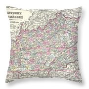 1855 Colton Map Of Kentucky And Tennessee Throw Pillow