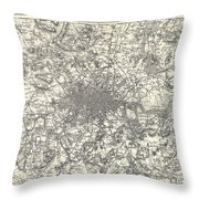 1855 Colton Map Of London Throw Pillow
