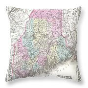 1855 Colton Map Of Maine Throw Pillow
