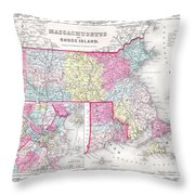 1855 Colton Map Of Massachusetts And Rhode Island Throw Pillow