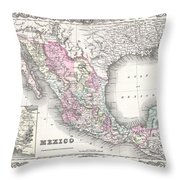1855 Colton Map Of Mexico - Geographicus1855 Colton Map Of Mexico - Geographicus Throw Pillow