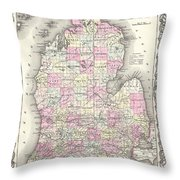 1855 Colton Map Of Michigan Throw Pillow