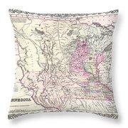 1855 Colton Map Of Minnesota Throw Pillow