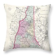 1855 Colton Map Of New Hampshire Throw Pillow