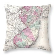 1855 Colton Map Of New Jersey Throw Pillow