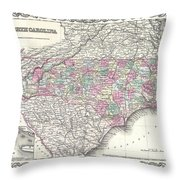1855 Colton Map Of North Carolina Throw Pillow