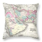 1855 Colton Map Of Persia Afghanistan And Arabia Throw Pillow
