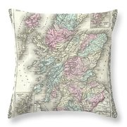 1855 Colton Map Of Scotland Throw Pillow
