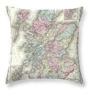 1855 Colton Map Of Scotland Throw Pillow
