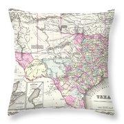 1855 Colton Map Of Texas Throw Pillow