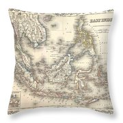 1855 Colton Map Of The East Indies Singapore Thailand Borneo Malaysia Throw Pillow