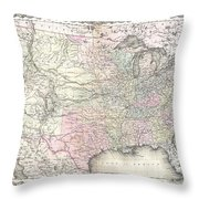 1855 Colton Map Of The United States  Throw Pillow