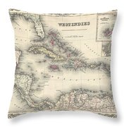 1855 Colton Map Of The West Indies Throw Pillow