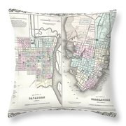 1855 Colton Plan Or Map Of Charleston South Carolina And Savannah Georgia Throw Pillow