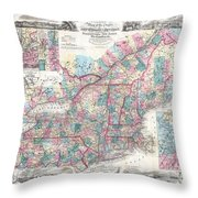 1856 Colton Pocket Map Of New England And New York Throw Pillow