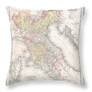 1856 Desilver Map Of Northern Italy Throw Pillow