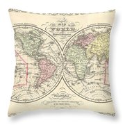 1856 Desilver Map Of The World  Throw Pillow
