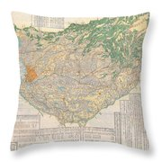1856 Japanese Edo Period Woodblock Map Of Musashi Kuni Tokyo Or Edo Province Throw Pillow