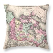 1857 Colton Map Of Canada And Alaska Throw Pillow