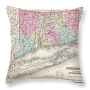 1857 Colton Map Of Connecticut And Long Island Throw Pillow