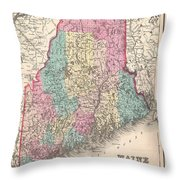 1857 Colton Map Of Maine Throw Pillow