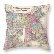 1857 Colton Map Of Massachusetts And Rhode Island Throw Pillow