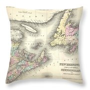 1857 Colton Map Of New Brunswick And Newfoundland Canada Throw Pillow