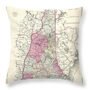 1857 Colton Map Of New Hampshire Throw Pillow