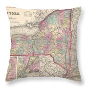 1857 Colton Map Of New York Throw Pillow