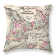 1857 Colton Map Of Ontario Canada Throw Pillow