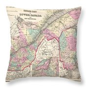 1857 Colton Map Of Quebec And New Brunswick Canada Throw Pillow