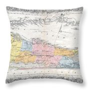 1857 Colton Travellers Map Of Long Island New York Throw Pillow
