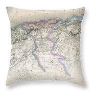 1857 Dufour Map Of Algeria Throw Pillow