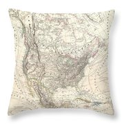 1857 Dufour Map Of North America Throw Pillow