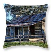 1860 Log Cabins Throw Pillow by Linda Phelps