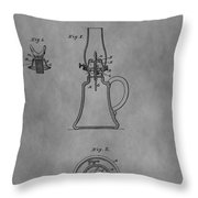 1861 Oil Lamp Patent Throw Pillow