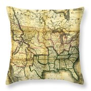 1861 United States Map Throw Pillow