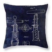 1862 Corkscrew Patent Drawing Throw Pillow