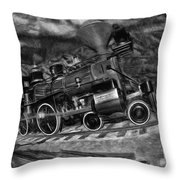 1862 Gov. Stanford First Locomotive Black And White Throw Pillow
