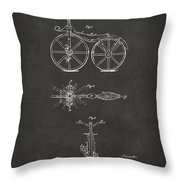1866 Velocipede Bicycle Patent Artwork - Gray Throw Pillow by Nikki Marie Smith