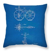 1866 Velocipede Bicycle Patent Blueprint Throw Pillow by Nikki Marie Smith