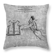 1869 Life Preserver Patent Charcoal Throw Pillow