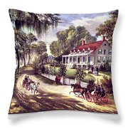 1870s 1800s A Home On The Mississippi - Throw Pillow